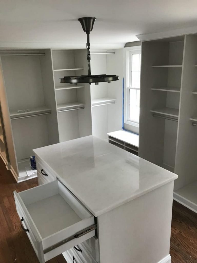 Walk-in closet installation - adding custom closet storage