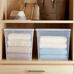 Folding clothes - clear bins