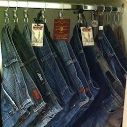 Folding clothes - hanging jeans