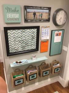 blue and green command center with chevron pattern calendar