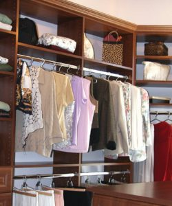 Wood custom bedroom closet