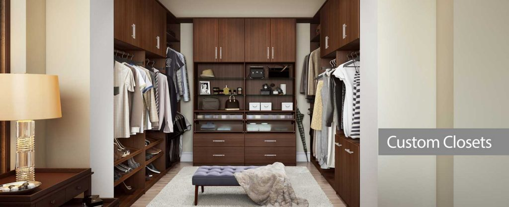 Example of closet back panel showing through the shelves.